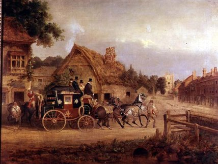 York To London Stage Coach Setting Off by Charles Cooper Henderson (1803-1877, United Kingdom)