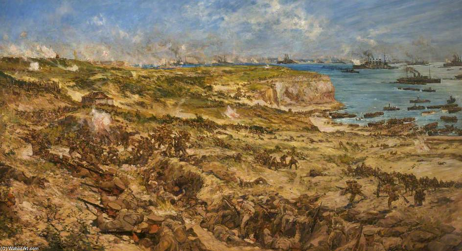 The Gallipoli Landing by Charles Edward Dixon (1872-1934, United Kingdom) | Museum Quality Reproductions | WahooArt.com