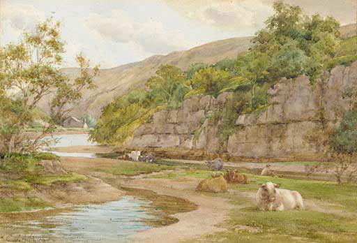 Cattle Resting On The Banks Of A River With A Fisherman Beyond by Charles James Adams (1859-1931, United Kingdom) | Museum Quality Reproductions | WahooArt.com