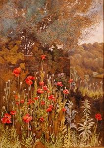 Order Reproductions | Poppies On A River Bank by Charles Robertson (1844-1891, United Kingdom) | WahooArt.com