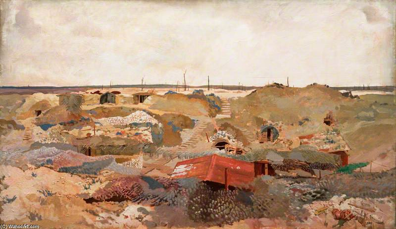A Camouflaged Quarry Between Chérisy And Hendecourt by Charles Henry Sims (1873-1928, United Kingdom) | WahooArt.com