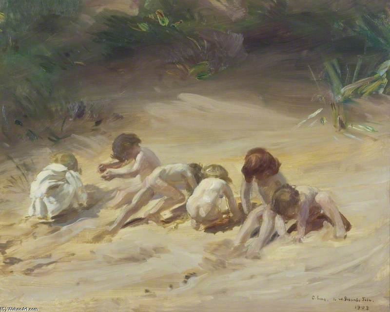 Children At Play by Charles Henry Sims (1873-1928, United Kingdom) | WahooArt.com