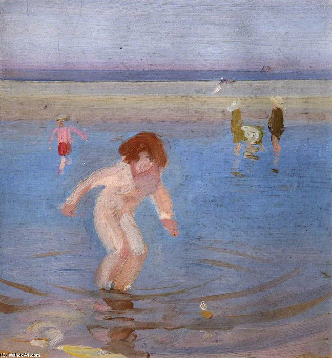 Children Bathing by Charles Henry Sims (1873-1928, United Kingdom)