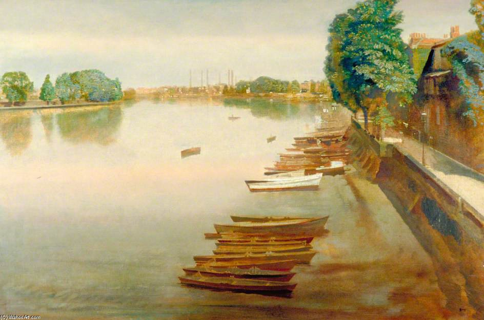 Lower Mall, Hammersmith, Looking Towards Chiswick Reach by Charles Henry Sims (1873-1928, United Kingdom)