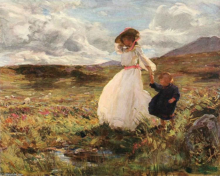 Sunshine And Wind by Charles Henry Sims (1873-1928, United Kingdom)