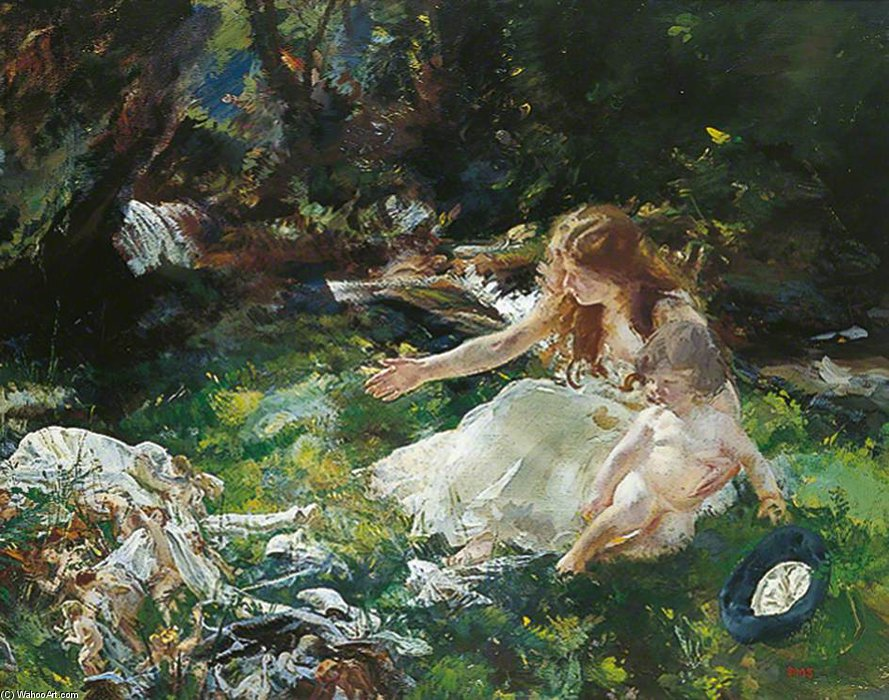 The Fairies Ran Away With Their Clothes by Charles Henry Sims (1873-1928, United Kingdom) | WahooArt.com