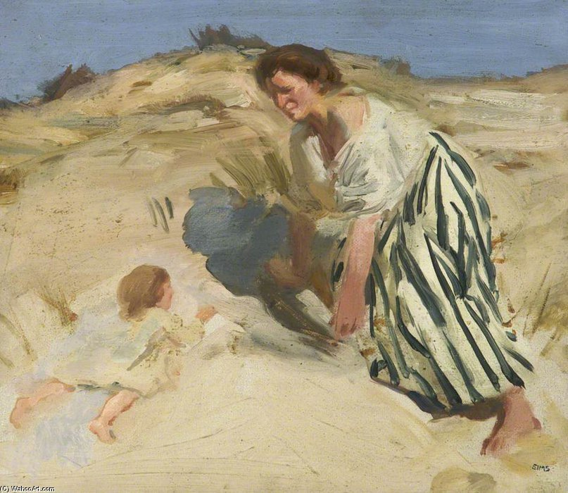 The Striped Skirt by Charles Henry Sims (1873-1928, United Kingdom)
