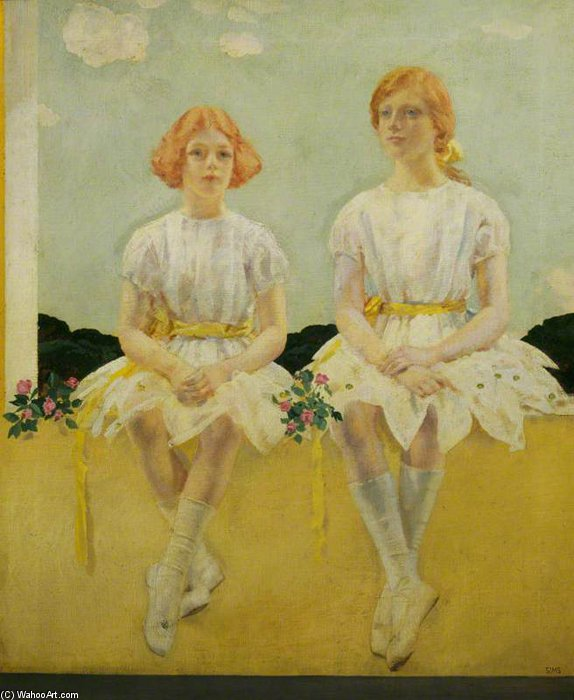 Two Girls Seated - Diana, And Sarah Churchill by Charles Henry Sims (1873-1928, United Kingdom) | WahooArt.com