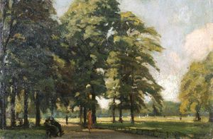 Charles Henry Sims - View In Kensington Gardens, London