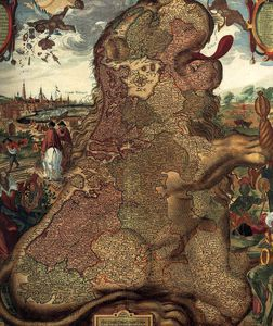 Claes Jansz The Younger Visscher - Lion Map (leo Belgicus) (detail)