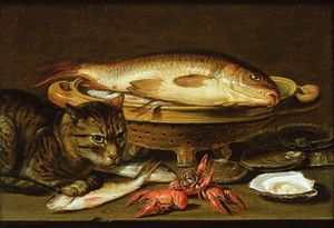 Clara Peeters - A Still Life With Carp In A Ceramic Colander, Oysters, Crayfish, Roach And A Cat On The Ledge Beneath