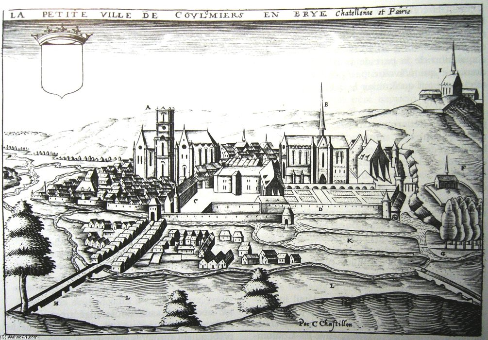 Ancient Etching Of The Town Of Coulommiers by Claude Chastillon (1559-1616, France) | Reproductions Claude Chastillon | WahooArt.com