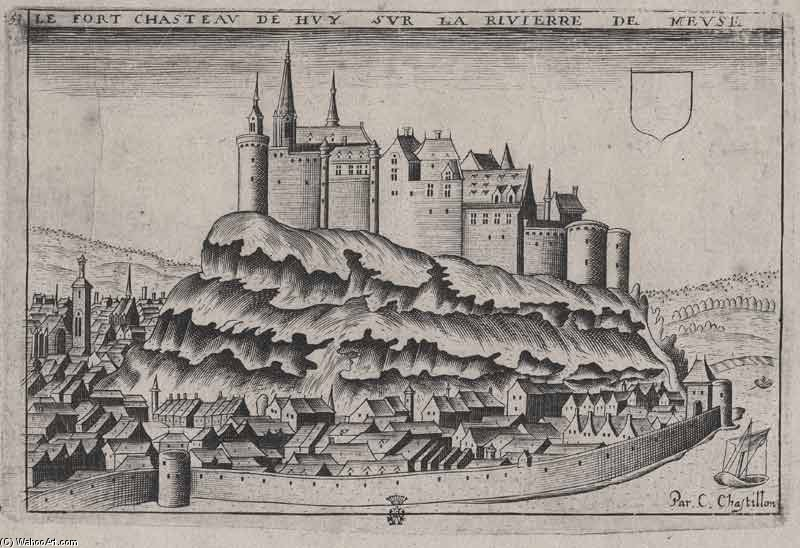 Ancient Sketching Of Huy Castle by Claude Chastillon (1559-1616, France)