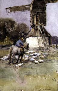 Claude Hayes - Horseman By A Windmill