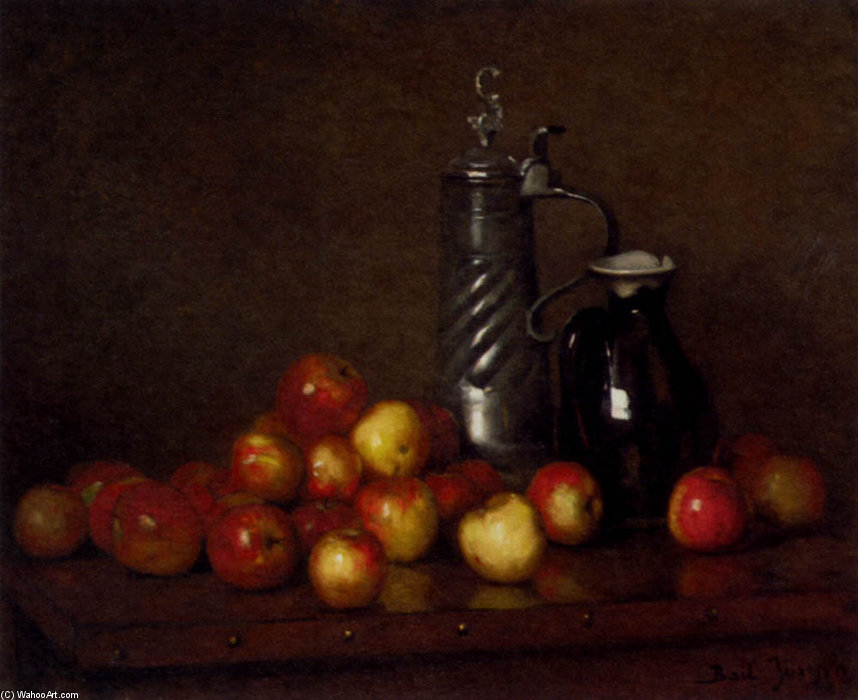 Apples With A Tankard And Jug by Claude Joseph Bail (1862-1921, France) | Museum Art Reproductions Claude Joseph Bail | WahooArt.com