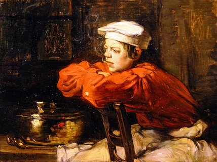 Kitchen Boy On A Cigarette Break by Claude Joseph Bail (1862-1921, France) | Paintings Reproductions Claude Joseph Bail | WahooArt.com