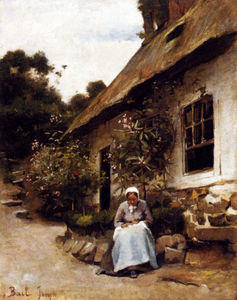 Claude Joseph Bail - Woman Sewing In Front Of Her Cottage
