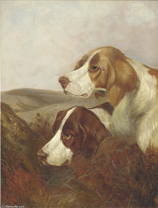 A Brace Of Pointers by Colin Graeme Roe (1858-1910, United Kingdom)