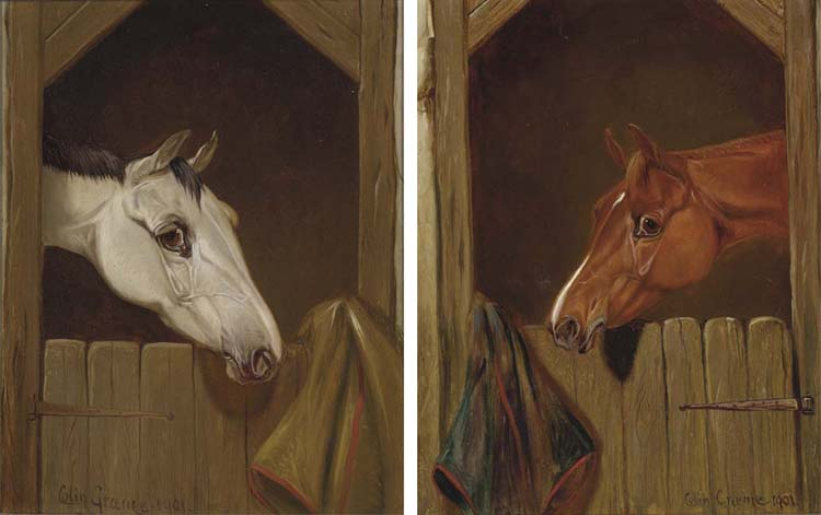 A Grey At A Stable Door; And A Chestnut At A Stable Door by Colin Graeme Roe (1858-1910, United Kingdom)