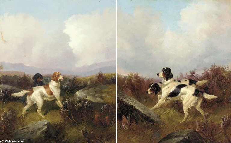 Setters On A Moor by Colin Graeme Roe (1858-1910, United Kingdom) | WahooArt.com