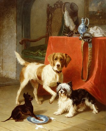 Three Dogs by Conradyn Cunaeus (1828-1895, Netherlands) | Oil Painting | WahooArt.com