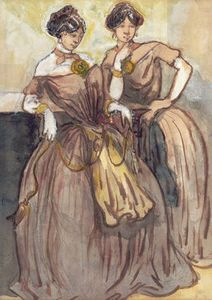 Constantin Guys - Two Young Women Standing