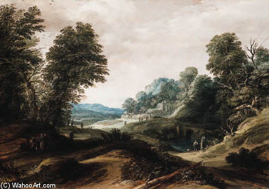 A Wooded Landscape With Tobias And The Angel by Cornelis Claesz Van Wieringen (1577-1633, Netherlands) | Museum Quality Reproductions | WahooArt.com