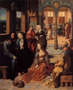 Cornelis Engebrechtsz - Christ In The House Of Martha And Mary