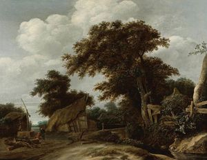Cornelis Gerritsz Decker - Landscape With Farmyard And Figure Drawing Water From Well