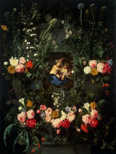Cornelis I Schut - Garland Of Flowers Around A Cartouche With Jesus And St. John The Baptist As Children