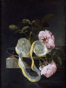 Cornelis Kick - Still Life With A Lemon And Pink Roses