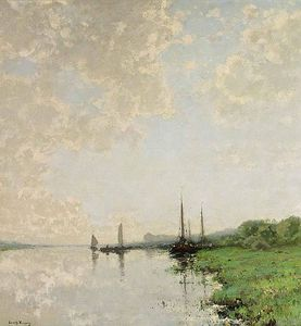 Cornelis Kuypers - A Summer Landscape With Boats On A Waterway