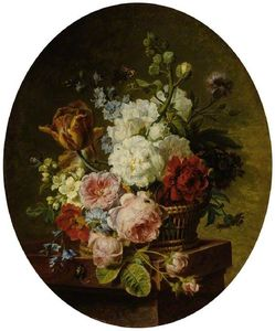 Cornelis Van Spaendonck - Open Wicker Basket Of Mixed Flowers, Including Tulip, Roses, Harebell, Hollyhock, Poppy, Larkspur And Auricula On A Marble Ledge