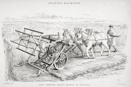 Bell's Improved Reaping Machine by Cornelius Varley (1781-1873, United Kingdom)