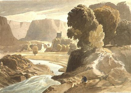 Mountainous Landscape With A Castle by Cornelius Varley (1781-1873, United Kingdom)