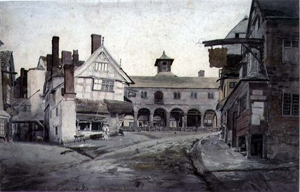 The Market Place, Ross, Herefordshire by Cornelius Varley (1781-1873, United Kingdom)