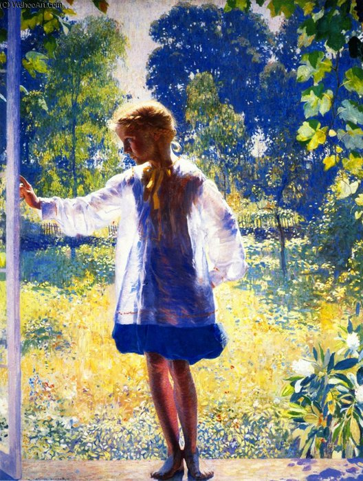 Coming by Daniel Garber (1880-1958, United States) | Painting Copy | WahooArt.com