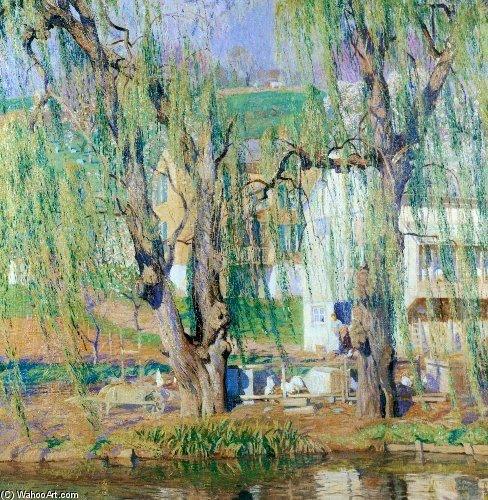 Order Reproductions | Old Willows Springtime by Daniel Garber (1880-1958, United States) | WahooArt.com