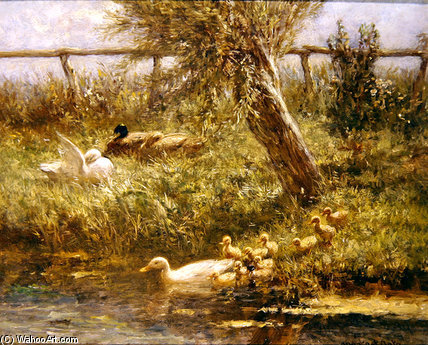 Ducks And Ducklings by Adolph Artz (David Adolf Constant Artz) (1837-1890, Netherlands) | Art Reproductions Adolph Artz (David Adolf Constant Artz) | WahooArt.com