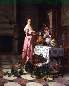 David Emile Joseph De Noter - Lady With Fruit And Flowers On A Table
