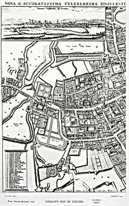 David Loggan - ''s Map Of Oxford, Eastern Sheet, From ''oxonia Illustrated'', Published