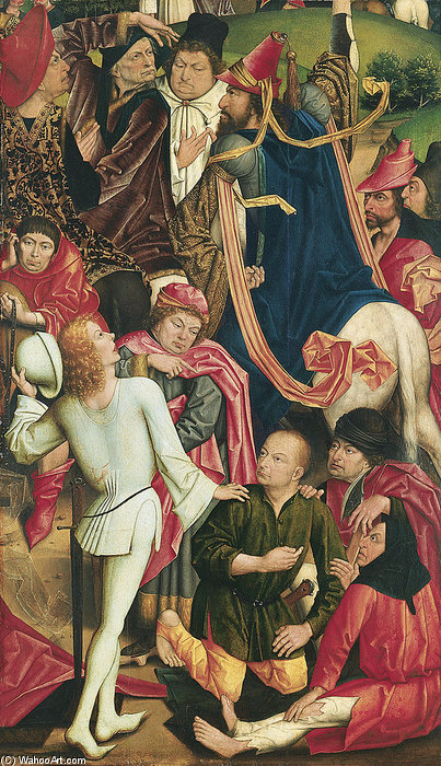 Knights And Soldiers Playing Dice For Christ's Robe by Derick Baegert (1440-1515, Germany)