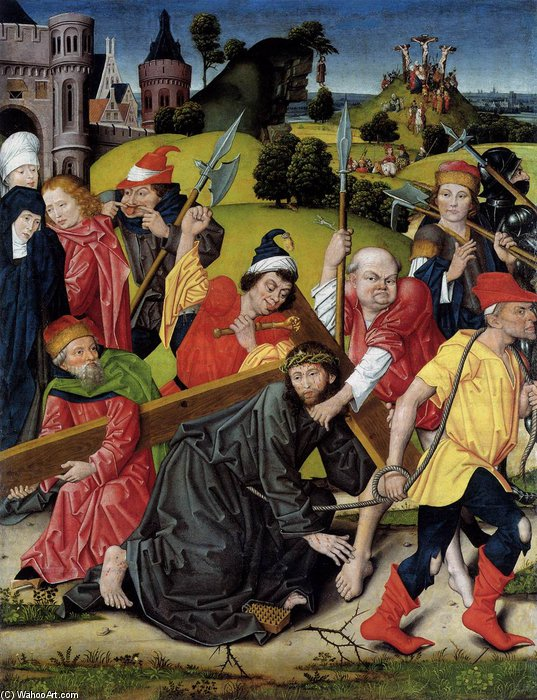 The Bearing Of The Cross by Derick Baegert (1440-1502, Germany)