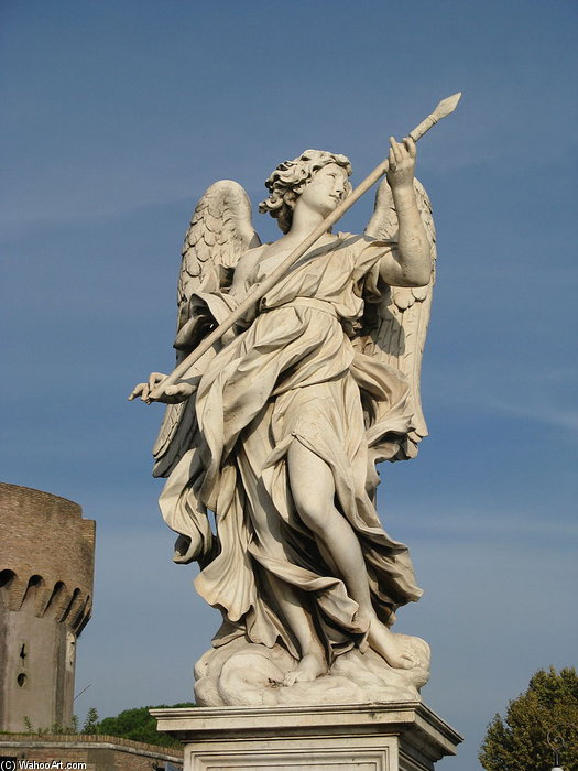 Angel Bearing A Lance by Domenico Guidi (1625-1701, Italy) | Famous Paintings Reproductions | WahooArt.com