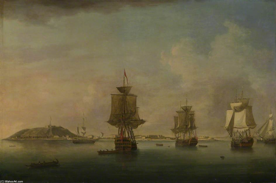 Attack On Goree - by Dominic Serres (1722-1793, France) | Famous Paintings Reproductions | WahooArt.com