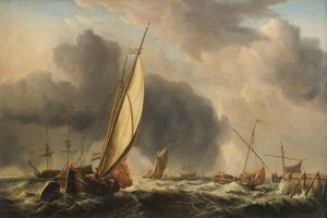 Dominic Serres - Fishing Boats And Man O- War In A Breeze At The Mouth Of A River