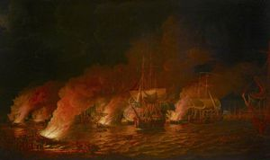 Dominic Serres - French Fire Ships Attacking The English Fleet Off Quebec