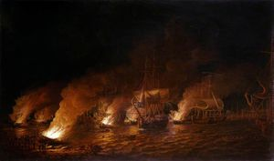 Dominic Serres - French Fire-ships Attacking The English Fleet Off Quebec