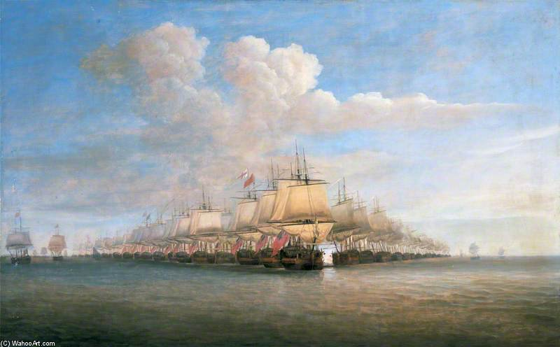 The Action Off Porto-novo by Dominic Serres (1722-1793, France) | Famous Paintings Reproductions | WahooArt.com