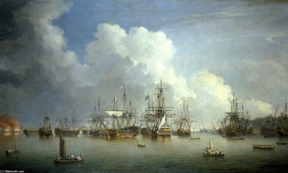 The Captured Spanish Fleet At Havana by Dominic Serres (1722-1793, France) | Oil Painting | WahooArt.com